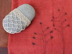 The look of a crochet-covered rock without needing to know how to crochet