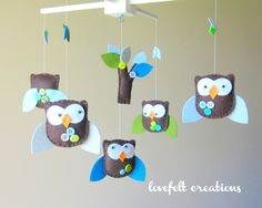 Baby Crib Mobile - Baby Mobile - Baby Mobile Owl - Nursery Mobile -You can customize you COLORS :). via Etsy.