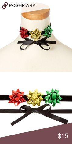 """Holiday gift bow ribbon choker necklace DESCRIPTION Our pretty velvety and satin-soft choker is features a holiday gift bow trio and ties in the back. It's the perfect way to add holiday cheer to any outfit!   Decoration: 1.5"""" D each 1 Pc Jewelry Necklaces"""