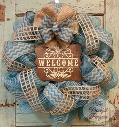 Turquoise Burlap Welcome Mesh Wreath with Turquoise Chevron on Etsy, $65.00