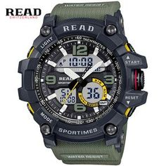 93fd41842e5 Cheap LEER marca tops Deporte Militar Dial Grande Escala Digital Analógico  correa de silicona relojes de