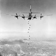 A B-29 Superfortress bombing Korea in February 1951. U.S. Air Force photo