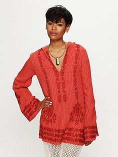 Stripe Hooded Embroidered Tunic  www.freepeople.co...