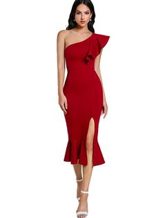 Floerns Women s Ruffle One Shoulder Split Midi Party Bodycon Dress Red M at Amazon  Women s Clothing 27e51c504