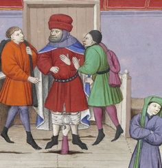 Practical joke, Boccaccio, Decameron (French translation), France ca. 1440 (BnF, Arsenal 5070, fol. 287v)