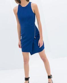 Blue Zip Up Dress - Zara TRF