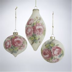 "Pretty In Pink Rose Patterned Sugared Glass 3"" Set Of 6 Christmas Ornaments"