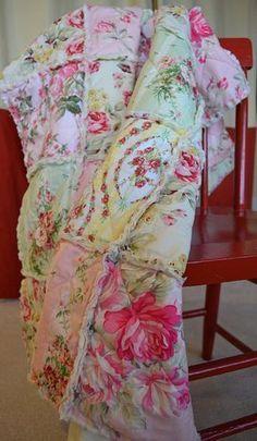 Shabby Chic Rag Quilt, Reserved for TKateri, Summer Rose Garden, pink, green… #diyragrugpillow
