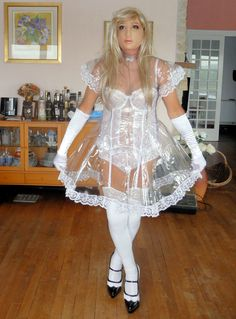 Plastic fantastic. I'm wearing my lovely transparent plastic dress, so you can see all my underwear:-) Taniasissygirl