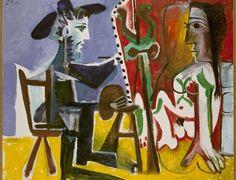 O Pintor e a Modelo. Óleo sobre tela. 1963. Pablo Ruiz Picasso (1881-1973). Encontra-se no Museu Nacional Centro de Arte Rainha Sofia, em Madri, Espanha. Artista espanhol que viveu e trabalhou durante muito tempo em Paris, França.