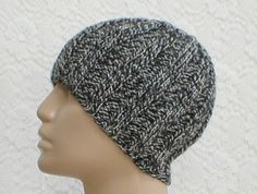 Black grey white tweed knit ribbed beanie hat skull cap, a nice lightweight hat for year round use......