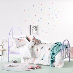 Covered in gorgeous hand painted unicorns, this quilt cover set from Adairs Kids will bring a touch of magic into your little ones bedroom. Created using soft cotton with a fun spot and squiggle pattern on the reverse, an adorable unicorn shaped cushion is also available to complete this enchanting look.