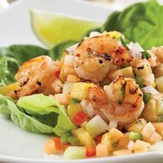 Grilled Shrimp with Melon & Pineapple Salsa Grilled shrimp is perfectly accented by this light, summery pineapple-melon salsa. The flavors are bright and fresh, just right for a hot day. Use just one melon or any combination of melons—including watermelon—for the versatile salsa. For best flavor marinate the shrimp overnight.