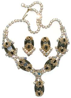 Filigree AB Rhinestone Necklace Earrings 1960's