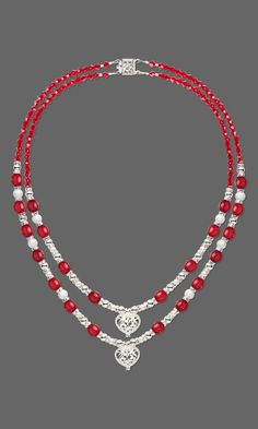 Jewelry Design - Double-Strand Necklace with Silver-Plated Brass Beads and Drops, Glass Beads and Swarovski Crystal - Fire Mountain Gems and Beads