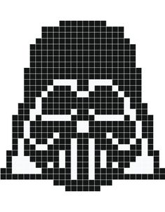 Darth Vader pixel art - Stickaz Pony Bead Patterns, Hama Beads Patterns, Loom Patterns, Craft Patterns, Card Weaving, Tablet Weaving, Cross Stitching, Cross Stitch Embroidery, Embroidery Patterns