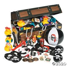 Who knows if X marked the spot where this Pirate Treasure Chest Toy Assortment was found, but it sure is full of loot that kids will love! Pirate Birthday, Mermaid Birthday, Boy Birthday Parties, Birthday Party Favors, 5th Birthday, Birthday Ideas, Pirate Themed Food, Pirate Party Games, Pirate Treasure Chest