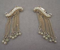 Gold Tone and Faux Pearl Waterfall Clip Earrings 1950-60s by thejeweledbear on Etsy