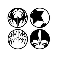 These 4 iconic logos were created by Gregg Gordon / GIGART for the band, KISS. They were designed while working at Signatures Network and used on many products, merchandise and more.
