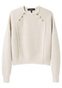 Fine detaljer på klassisk sweater. L  Maritime detaljer i knaplukning og strik, men samtidig meget moderne (Isabel Marant)