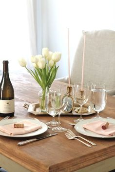 A romantic table for two | pink and brass table with Creative Candles for Valentine's Day or date night