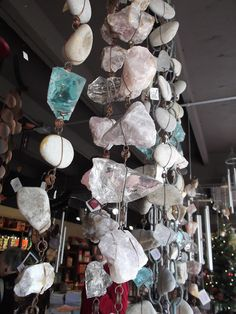 """crystal and rock rain chains...love! These would make really beautiful """"screens"""" from the neighbors on the sides of the porch"""