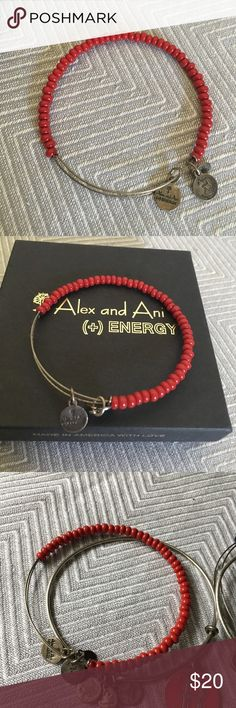 Alex + Ani Red Beaded bracelet in silver tone Very good condition, may need a little shining up. Red beads with Russian silver:  Will come with Alex and Ani bracelet pouch or box. 🚫Trades, please don't ask 🚫Deals outside of Posh. All items come from pet friendly, smoke free home. Thank you for stopping by my closet! 😊 Alex And Ani Jewelry Bracelets