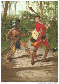 HURON WARRIOR, PRIVATE- 44th REGIMENT REGIMENT OF FOOT 1755, FROM PAINTING BY BRYAN FOSTEN,  (MIL