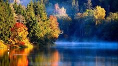 Nature Landscapes Rivers Lakes Water Reflection Autumn Fall Seasons Trees Forest Fog Mist Haze Sunlight Sunrise Sunset 2560×1600