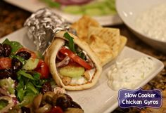 This EASY slow cooker recipe for Chicken Gyros is a unique break from regular chicken dishes