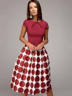 Women Vintage Dot Print Party Dress Short Sleeve A-line Midi O-neck Dress 2018 Summer Elegant Prom Casual Chic Dress Female Ladies Day Dresses, Summer Dresses For Women, Elegant Dresses, Casual Dresses, Short Sleeve Dresses, Cheap Dresses, Maxi Dresses, Red Polka Dot Dress, Polka Dots