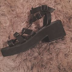 UO Freya Caged Buckle Platform Wedge Sandals Lightly worn. Great condition! Deena & Oozzy Shoes Wedges