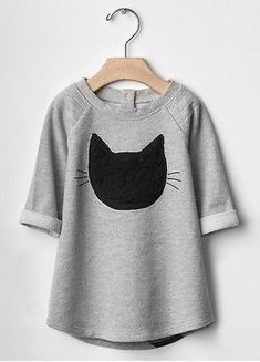 Baby Gap Infant Toddler Girls Black & Gray Cat Dress NWT 18-24 Months