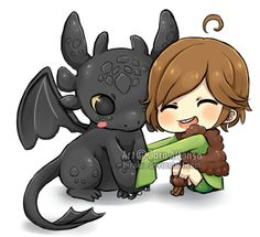 Toothless and Hiccup by ZaraAlfonso.deviantart.com on @DeviantArt