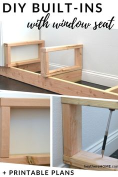 DIY built-in bookshelves with a bench seat tutorial + printable step-by-step instructions with measurements worksheet. #buildingplans #builtins #windowseat Plywood Furniture, Diy Furniture, Furniture Plans, Kitchen Furniture, Diy Bench Seat, Indoor Bench Seat, Bench Seat With Storage, Bedroom Built Ins, Window Benches