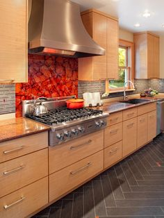 Contemporary Kitchen Natural Stone Tile Design, Pictures, Remodel, Decor and Ideas - page 14