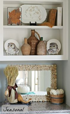Curious Details: One Shelf Three Ways To Decorate - great post on shelf styling We all know why my eye was drawn to this Styling Bookshelves, Bookcase Shelves, Bookcase Organization, Display Shelves, Shelving, Mantel Styling, Kitchens And Bedrooms, Bedroom Styles, Dream Decor