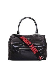 GIVENCHY MEDIUM PUFFY PANDORA BLACK RED LOGO TOTE MESSENGER BAG  BB05250383-001  #GIVENCHYPANDORA #TotesShoppers