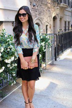 aqua versailles bib + paisley blouse = perfect match from With Love From Kat Indie Fashion, Love Fashion, Fashion Hair, Street Fashion, Missoni, Topshop, Zara, Nyc, Church Outfits