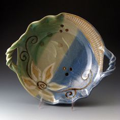 Scalloped Serving Bowl with Flower Motif by TracieMansoPottery, $68.00