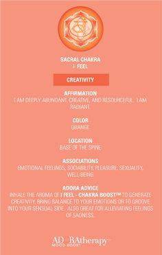 Sacral Chakra 101 courtesy of ADORAtherapy™ #aromatherapy #adoratherapy #chakra #essentialoils #affirmation #meditation #creativity