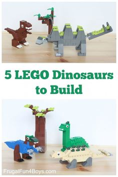 Five LEGO Dinosaurs to Build! Awesome LEGO building ideas for kids. Great for a rainy day or a LEGO club. Legos, Lego Building, Building Ideas, Van Lego, Lego Challenge, Lego Club, Lego Craft, Lego For Kids, Lego Storage