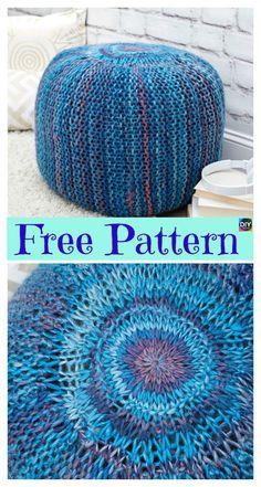 6 Beautiful Knitting Pouf Free Patterns #freeknittingpatterns #pouf #diyhomedecor