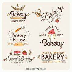 Collection of bakery logos in hand drawn style Vector Cupcake Logo, Cake Logo Design, Bakery Design, Menu Design, Churreria Ideas, Logo Boulangerie, Logo Patisserie, Logo Abstrait, Vintage Bakery