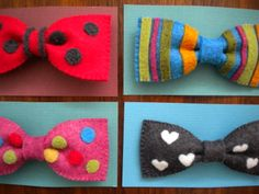 Harujion Design: Needle Felted Bow (Tie) Brooches