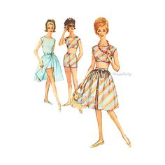 1960s Womens Playsuit Pattern Simplicity 4482 Midriff Top, Shorts, Blouse, Overskirt Vintage Sewing Patterns, Bust 36, Uncut