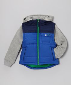Look what I found on #zulily! Royal Blue & Navy Layered Hooded Jacket - Infant, Toddler & Boys #zulilyfinds