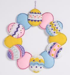 Easter egg wreath from Bucilla. Released in January of 2017, this limited edition kit is available at MerryStockings today.