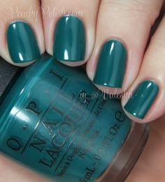 OPI Amazon... Amazoff - Love this! It's from their new Brazil collection, and this one really caught my eye. It's a beautiful jungle teal green that looks awesome on the toes! And the name is hilarious!!
