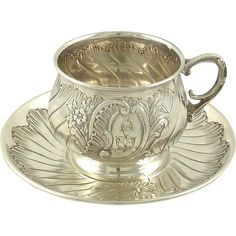 A fine antique French silver cup and saucer. the set was created by Armand Fresnais who commenced work in Paris in Rococo flourishes on both cup and saucer including Silver Jewellery Indian, Silver Jewelry, Silver Pooja Items, Silver Lamp, Silver Ornaments, Silver Gifts, Bronze, Teller, French Antiques